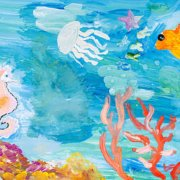 Under water see painting