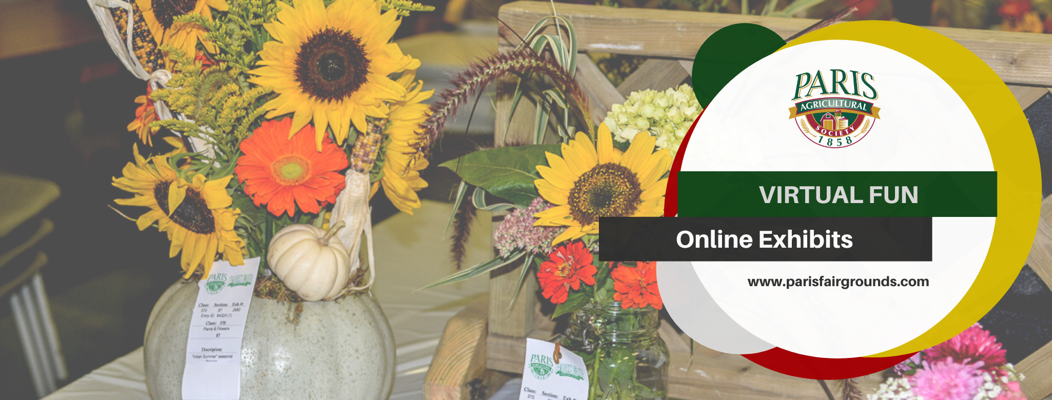 Online Exhibits- Image of flower bouquet entries at the fair.