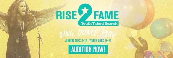 Rise 2 Fame Youth Talent Search. Sing, Dance, Play. Junior Ages 6-12, Youth Ages 13-21. Audition Now! A young Girl singing and a youth balancing large balls on their arms and legs.