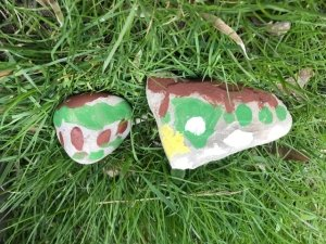 Two painted rocks