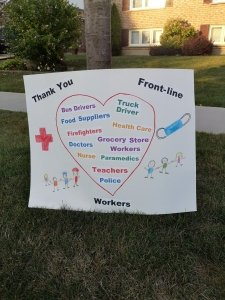 Poster board thanking front line workers