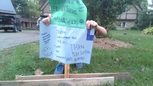 A poster thanking front line workers